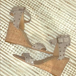 Suede studded cork wedges